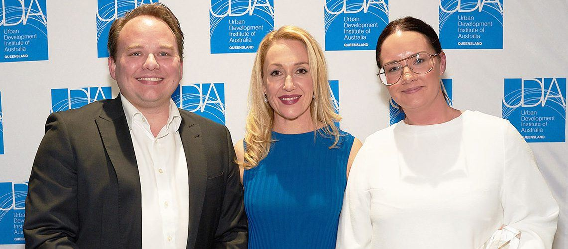 UDIA Queensland Jaryd Collins, Marina Vit & Place Design Group GM, Beth Toon at 2017 UDIA QLD Awards